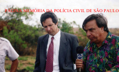 O saudoso Delegado Luiz Ailton Valias Borges, concedendo entrevista ao Repórter Gil Gomes, na cobertura de uma caso de repercussão na via Dutra- São José dos Campos, em 1.995. Acervo do filho, o Advogado Bryan Valias.