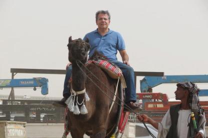 Delegado de Polícia Diretor da ACADEPOL Mário Leite De Barros Filho, em passeio no camelo, quando estava na Conferência Internacional das Academias de Polícia- ENTERPA em Ryad- Arábia, em abril de 2.013.