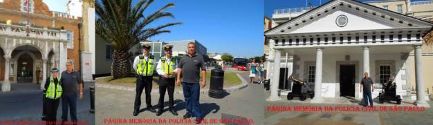 Visita do Delegado Paulo Roberto de Queiroz Motta à Polícia do território britânico de Gibraltar, em abril de 2.014. (foto da esquerda, a policial Palmira e à direita a Delegacia local).