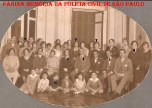 Delegado de Polícia Franklin de Toledo Piza, que, pela lei 1501, de 17 de novembro de 1916, foi nomeado o primeiro Delegado Geral de Polícia de São Paulo e posteriormente, primeiro Diretor da Penitenciaria do Estado, Diretor Geral da Escola de Polícia e membro do Conselho Consultivo do Estado de São Paulo, casado com Alcina Pimentel de Toledo Piza, cunhado de Damazio Pires Pimentel, prefeito de Amparo/SP de 1897 a 1899, e pai de Wlademir Toledo Piza, médico pediatra, diplomado pela Universidade do Brasil, Deputado e candidato a governador do Estado de São Paulo em 1954. Elegeu-se vice-prefeito da Capital em 1955 e assumiu a prefeitura no ano seguinte em razão da renúncia do prefeito Lino de Matos. Legenda da foto: nº 1 Franklin de Toledo Piza, nº 2 Alcina Pimentel de Toledo Piza, nº 3 Wladimir de Toledo Piza, nº 4 Alice Pimentel, e as irmãs: nº 5 Lucy de Queiroz , nº 6 Marina de Queiroz, nº 7 Nair de Queiroz (todas as três, netas maternas de Damazio Pires Pimentel e filhas do magistrado Flavio Augusto de Oliveira Queiroz) e nº 8 Gladys Pimentel.