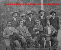 O Delegado de Polícia Manuel Galeão Carvalhal, e sua comitiva, por ocasião da visita ao posto policial de Cubatão, em 1.902.