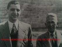 À direita, o Delegado Titular do Município de Guarulhos. João Ranalli, ladeado com o Prefeito da cidade, Major José Moreira Matos, em 10 de setembro de 1.940, visitavam aárea destinada à construção da Base Aérea de Cumbica.