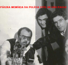 "Investigadores Dorival Candel ""in memorian"", Mario Benedito Pinheiro ""Nazaré"" e Mauricio "" in memorian"", no coquetel da lançamento do filme ""Noite de Orgia"", em 1.979."