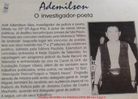 """Peportagem do """"Metrô News"""" sobre o poeta, Investigador José Admilson Silva, em 1.989."""