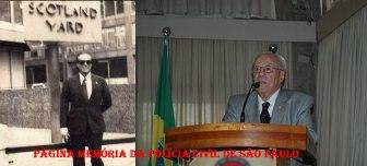 """Delegado de Polícia Antonio Carlos de Castro Machado """"Dr. Caio"""" em visita a sede da Scotland Yard, em Londres, em 1975 e atualmente."""