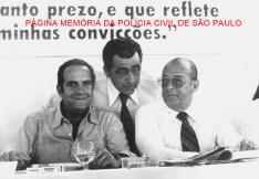 O Governador de São Paulo Paulo Egydio Martins e o Presidente da República General João Baptista Figueiredo, visitando a região do Vale do Paraíba, ao centro o prefeito do Município de Casa Branca/SP, Delegado de Polícia Marco César Aga, em 1.979.