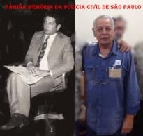 """À esquerda, o Investigador Paulo Luiz Gentil quando formava a lendária dupla de combate ao tráfico de entorpecentes """"Paulinho e Chiquinho"""" na década de 70, e a outra foto recente no 4º Encontro da Velha Guarda."""