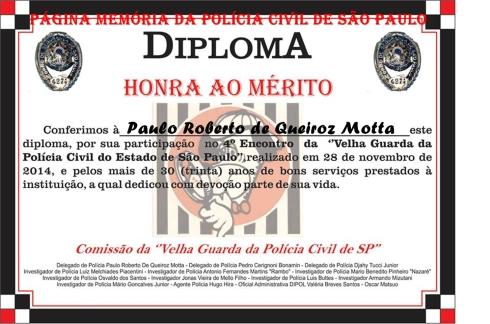4º Encontro da Velha Guarda da Polícia Civil de São Paulo, em 28 de novembro de 2.014. Diploma entregue a integrantes da Velha Guarda da PCSP.