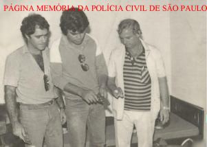 Investigadores da Seccional de Campinas, no início dos anos 80. À partir da direita, Investigadores Antônio Lázaro Constâncio, (?) e (?).