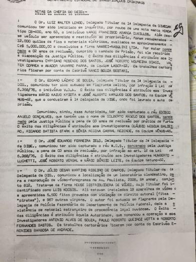 Publicação do lendário BI- Boletim Interno do DEIC, citando ações de vários policiais de destaque, BI nº 120 de 14/7/1.987.