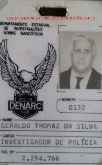 """Crachá de identificação do DENARC, do ícone da Polícia Civil, Investigador Geraldo Thomaz da Silva """"Geraldo Jacarei"""", final da década de 80."""