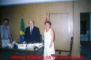 DENARC, em 12 de dezembro de 1.995. Investigador Milton, Delegado Titular Fernando Vilhena e Investigadora Maria Damas.