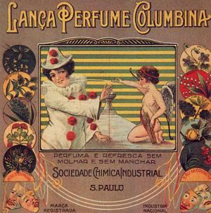 """Curiosa Propaganda da """"Lança perfume Columbina"""" encontrada em todos veículos de comunicações da época."""