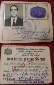 """Carteira de identificação do saudoso Delegado de Polícia Rodolfo de Carvalho Coelho, foi o 1º Delegado da RONE- Ronda Noturna Especial do DEGRAN, mesma época que foi criado a RUDI, no final da década de 60. Também trabalhou na RUDI, Patrimônio """"Kilo"""", antiga Divisão de Enporpecentes do DEIC. Sempre acompanhou o Delegado Mario Perez Fernandes, Diretor de vários Departamentos. Foi Diretor da DDP- Divisão de Diversões Públicas e trabalhou na Delegacia de Jogos no antigo DI Departamento de Investigações. Se aposentou em 1986. Acervo da filha Investigadora Ana Marsulla."""